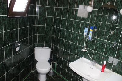 The bathroom toilet